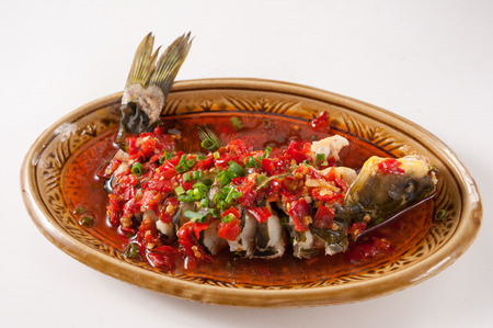steamed yellow catfish with diced hot red pepper Stock fotó