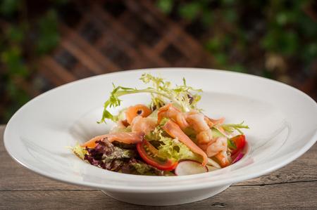 Salmon and shrimp salad Stock fotó
