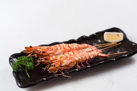 Grilling prawns with salt,Japanese cuisine