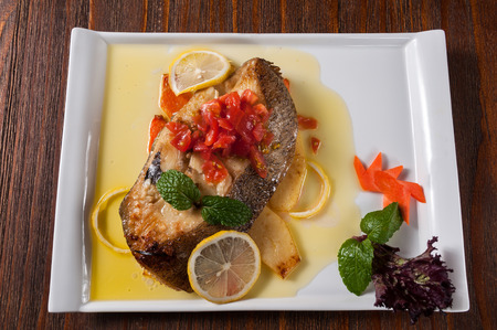 perch fillet with chili sauce
