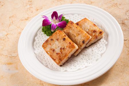 Gestoomde raap taart, Chinees eten. Stockfoto