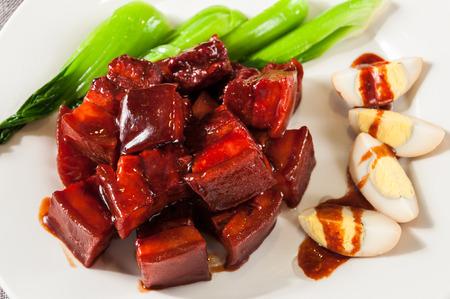 rou: Braised pork in claypot Stock Photo