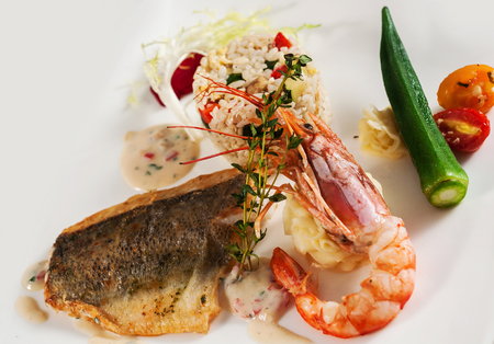 Pan fry sea bass filet and red king prawn with rice