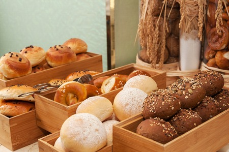 Bread in wooden boxes