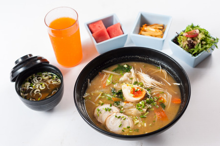 japanese tonkotsu ramen, pork bone broth noodles Stock fotó - 73884302