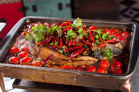 Chinese popular grilled fish Banco de Imagens