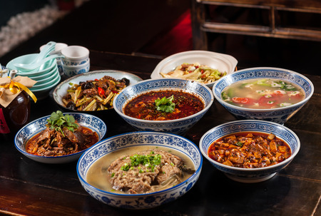 A table of Chinese food,Sichuan cuisine