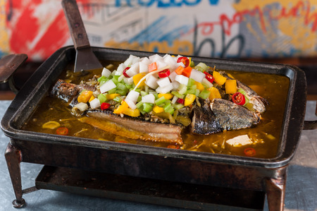 Chinese popular grilled fish Stock fotó
