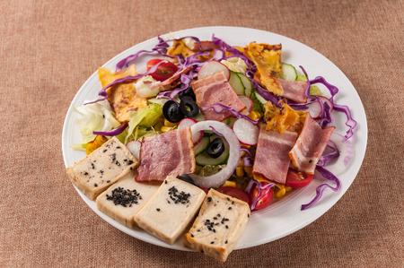 Japanese tofu bacon salad