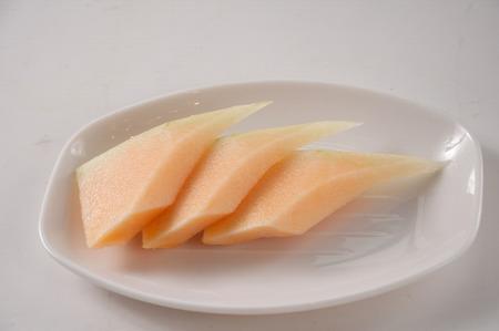 Slices of Hamigua Melon, Hami Melon, Hami Cantaloupe.