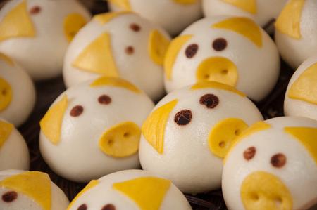 cute pig steamed bun Stock fotó