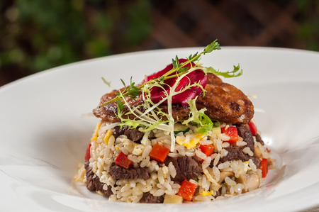 Beef fried rice with foie gras
