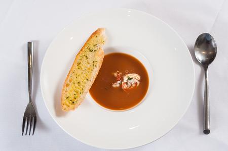 Lobster Soup with garlic bread Stock fotó