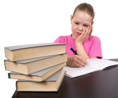 The girl does homework Stock Photo - 9552712