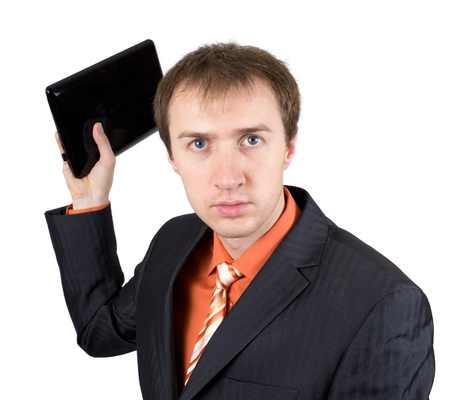 The young businessman throws out laptop Stock Photo - 9552722