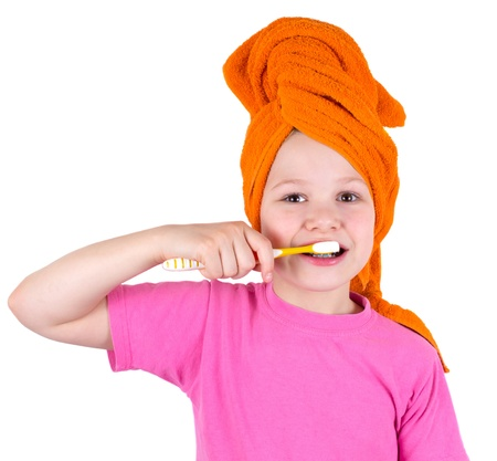yellow teeth: The girl brushes teeth a tooth brush Stock Photo