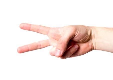 hand signal isolated on white background photo