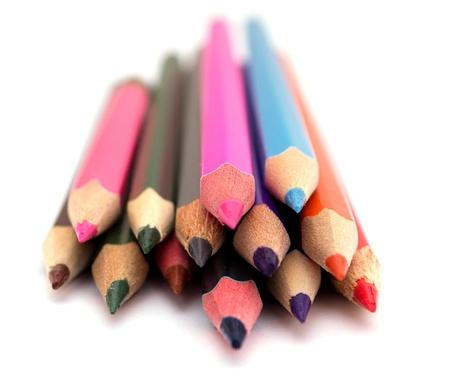 Color pencils on white  photo