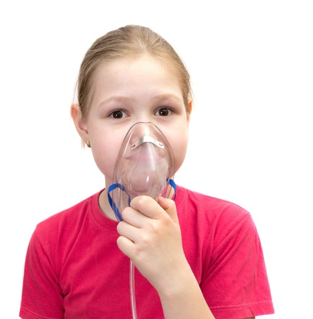 12 15 months: The girl with a mask for inhalations