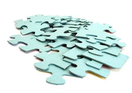 Puzzle slices isolated on a white background photo