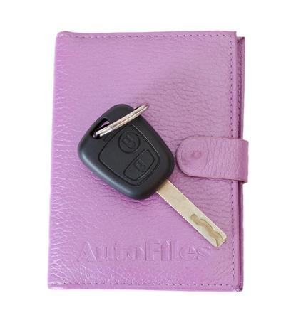 mot: auto documents and key isolated on white Stock Photo