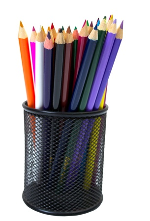 Close-up of colored pencils in Pencil box photo
