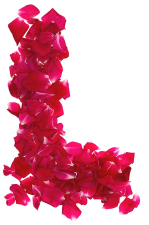 Pink rose petals forming letter L Stock Photo - 9978910
