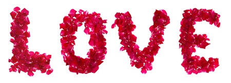 Pink rose petals forming letter  love on white photo