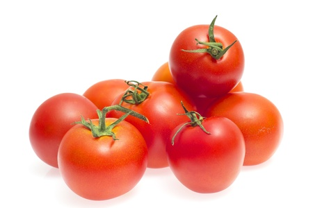 Red tomatoes isolated on a white