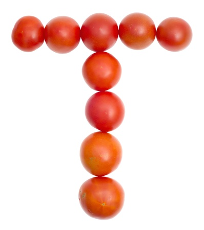 delightfully: The symbol T from red ripe tomatoes on white