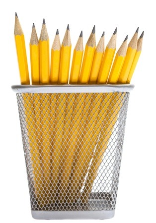 holder: Pencils in the pencil holders Stock Photo