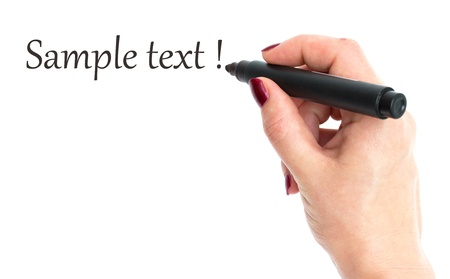 hand with marker (with sample text) Stock Photo - 10121335