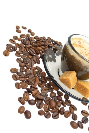 Cappuccino, brown sugar and coffee beans on white background Stock Photo - 10121336