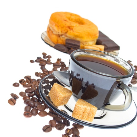 Italian espresso donut, brown sugar  and coffee beans on white background photo