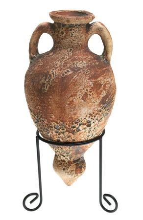 Vintage pottery vase on a white background photo