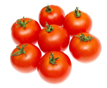 delightfully: Red tomatoes isolated on white