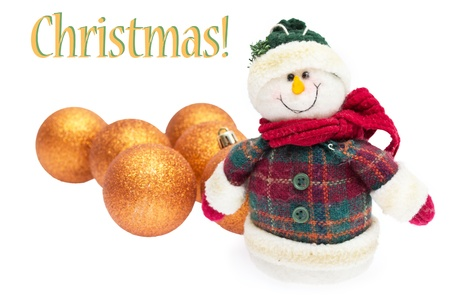 Happy snowman with balls, christmas card Stock Photo - 10396259