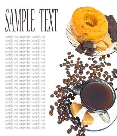 Coffee, donut, brown sugar and coffee beans on white background photo