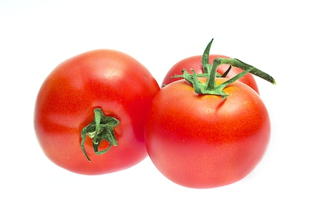 enough: Red tomatoes isolated on white