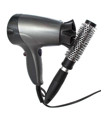 hair drier: Hair dryer and brush isolated on white Stock Photo