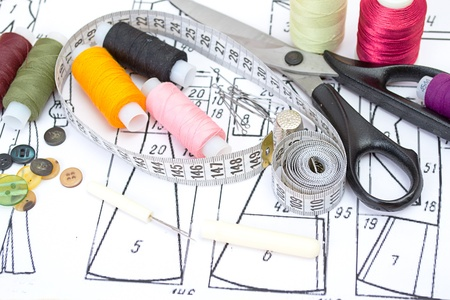 craft button: still life various sewing accessories in the scheme Stock Photo