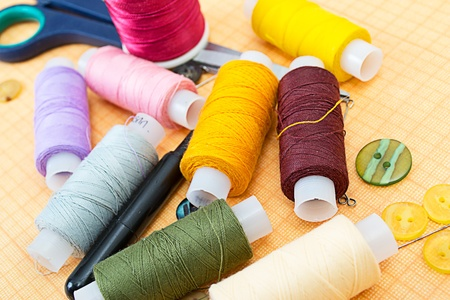 sewing supplies: Sewing supplies: thread, scissors, buttons