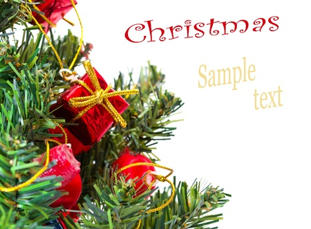 Colorful Christmas Decorations on a Tree Isolated on a White Background photo