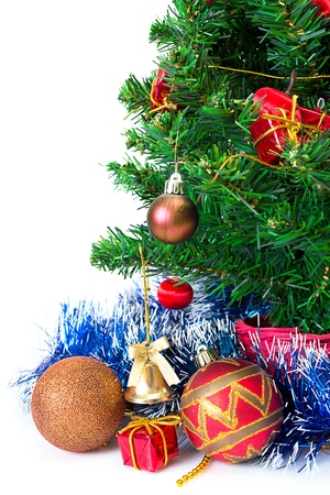 clr: Colorful Christmas Decorations on a Tree Isolated on a White Background Stock Photo