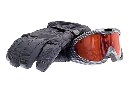 ski snowboard goggles with gloves isolated on white background photo