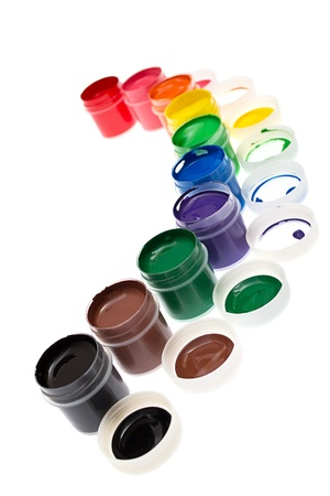 daubs: Multi-colored gouache paint isolated on a white background Stock Photo