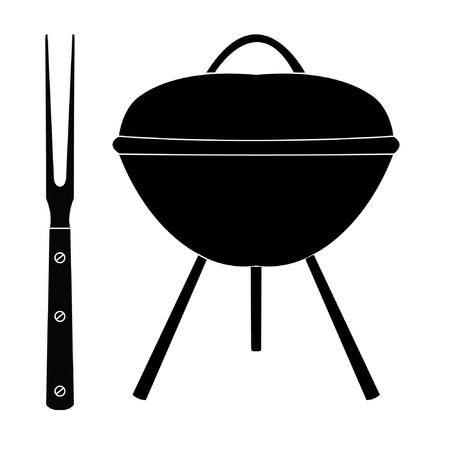 grilled: barbecue grill with large fork on a white Illustration