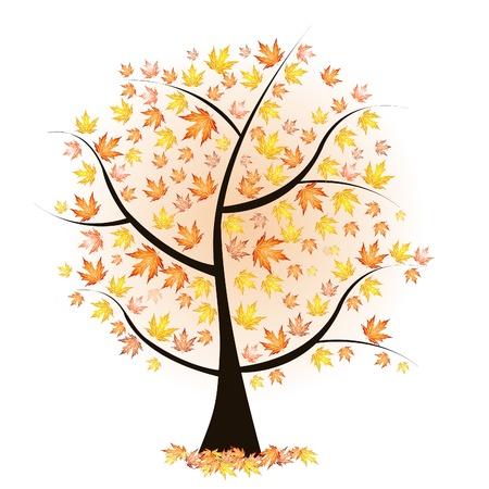 """jarzębina: drzewa jesieÅ"""" z kolorowymi liśćmi Ilustracja"""