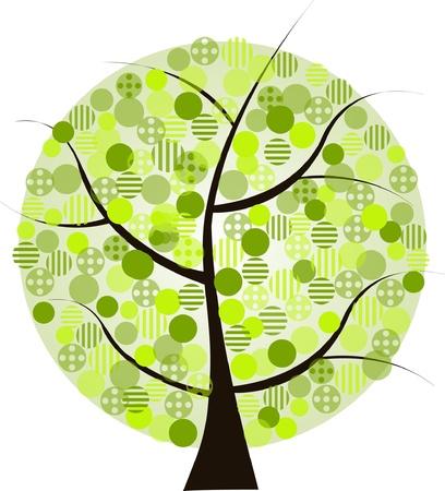 arbol geneal�gico: Hermoso �rbol de verdes sobre un fondo blanco Vectores