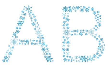 Beautiful frosty letters of snowflakes on a white background. vector. Vector